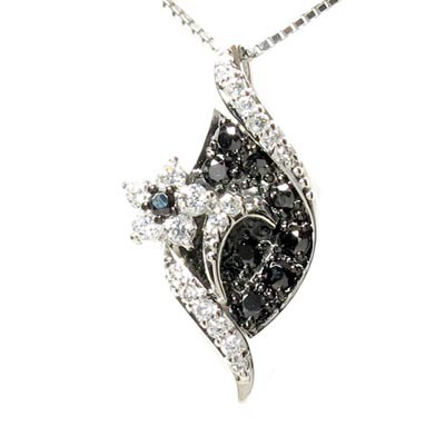 ブラックダイヤモンド ネックレス ペンダント レディース フラワー 花 プラチナ pt900 0.60