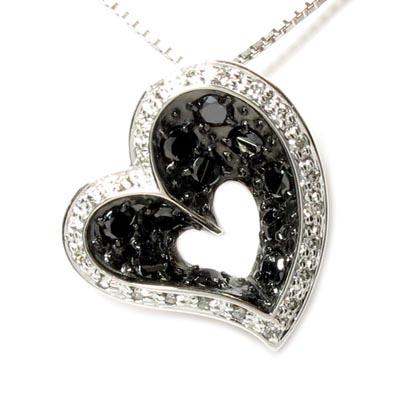 ブラックダイヤモンド ハート ネックレス ダイヤ ペンダント レディース ダイヤモンド オープンハート プラチナ pt900