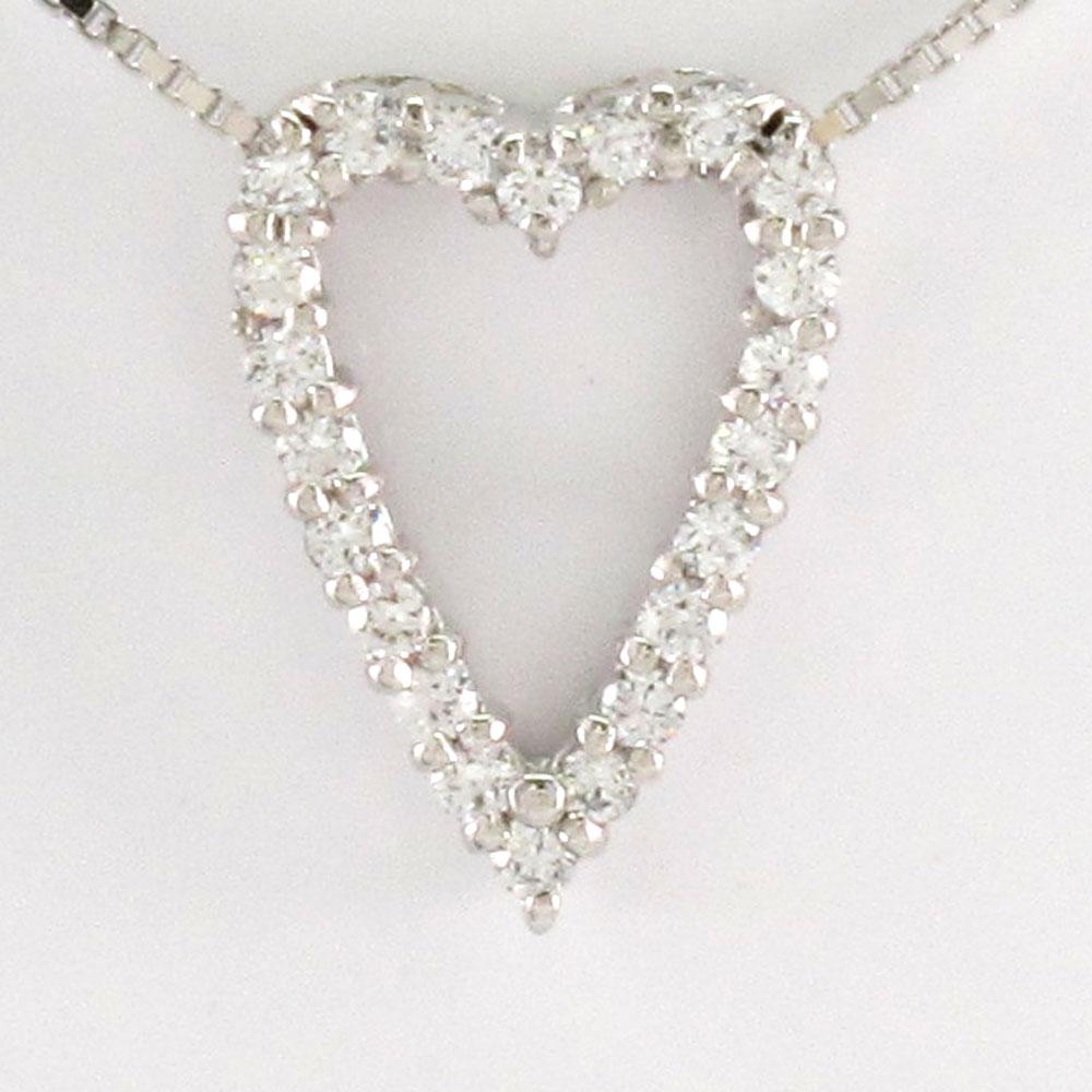 ハート ネックレス ダイヤ ペンダント レディース ダイヤモンド オープンハート プラチナ pt900