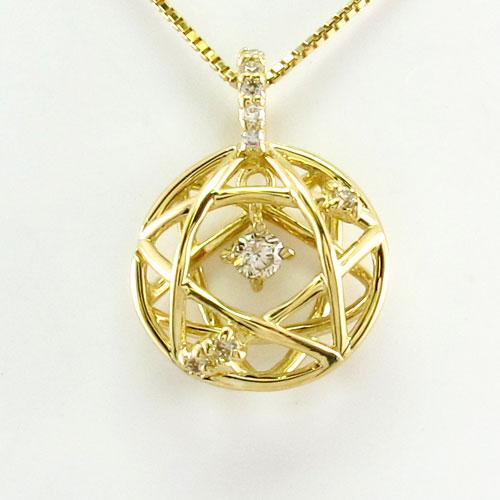 ダイヤモンド ネックレス 18k ペンダント レディース スター 星 ブラ 揺れる 0.1カラット ゴールド k18 18金