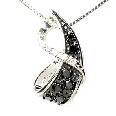ブラックダイヤモンド ネックレス ペンダント レディース リボン プラチナ pt900