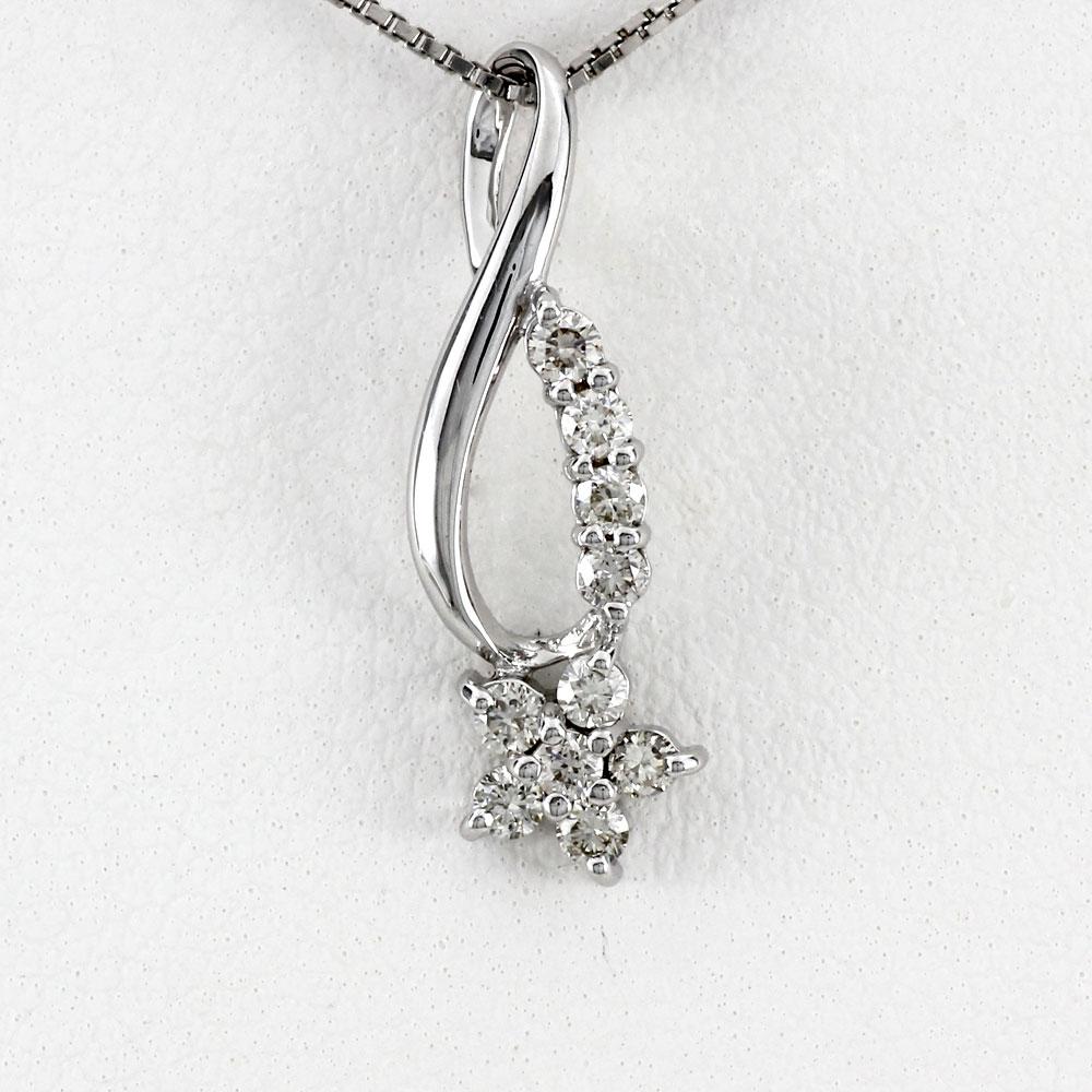ダイヤモンド ネックレス ペンダント レディース フラワー 花 スイート 10 アニバーサリー メモリアル シンプル カーブ プチ プラチナ pt900 0.2カラット