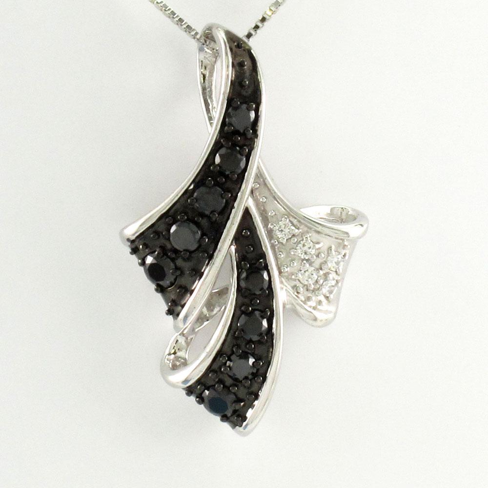 ブラックダイヤモンド ネックレス ペンダント レディース パヴェ リボン プラチナ pt900