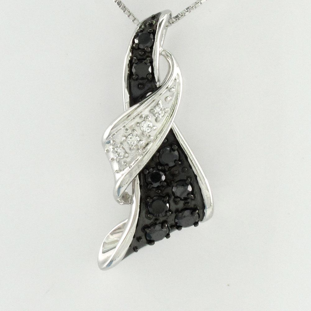ブラックダイヤモンド ネックレス ペンダント レディース パヴェ リボン ゴールド k10 10k 10金