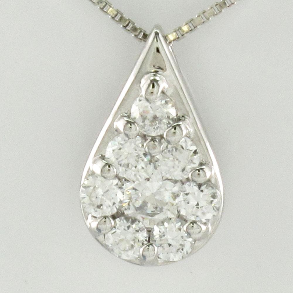 ダイヤモンド ネックレス ペンダント レディース パヴェ 涙型 ペアシェイプ プラチナ ドロップ つゆ pt900