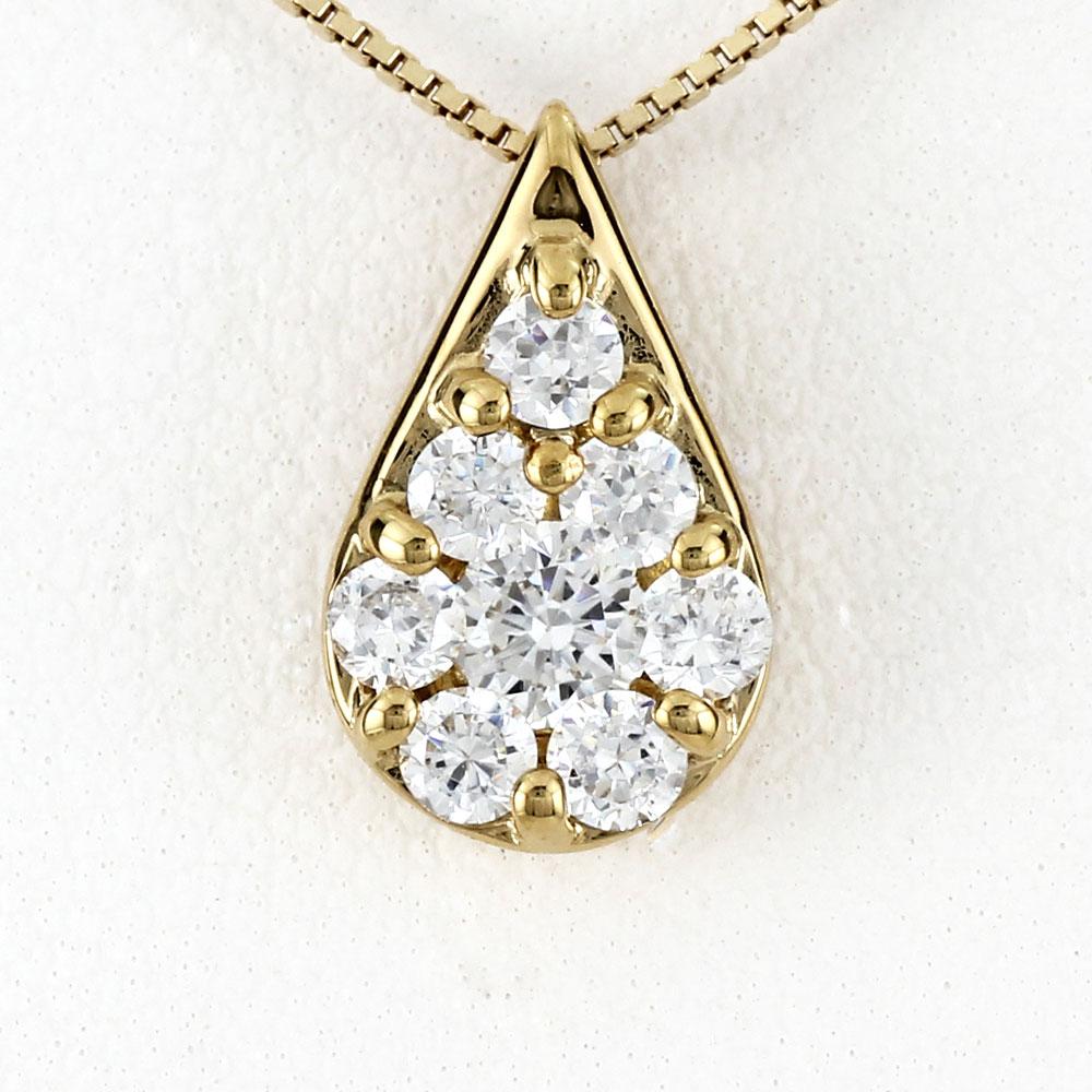 ダイヤモンド ネックレス 18k ペンダント レディース パヴェ 涙型 ペアシェイプ ドロップ つゆ ゴールド k18 18金
