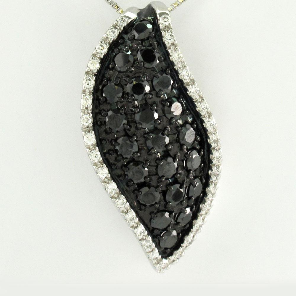 ブラックダイヤモンド ネックレス ペンダント レディース パヴェ プラチナ リーフ 葉 木の葉 pt900