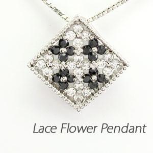 ブラックダイヤモンド ネックレス ペンダント レディース フラワー 透かし レース スクエア プラチナ pt900 0.3カラット