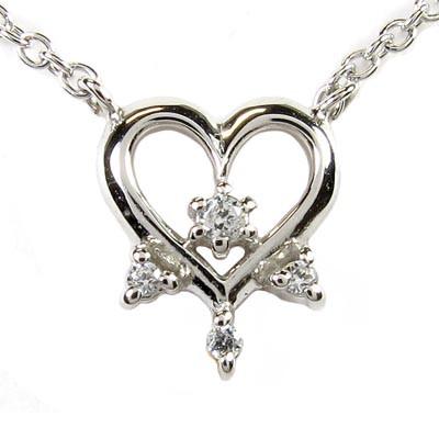ハート ネックレス ダイヤ ペンダント レディース ダイヤモンド プラチナ pt900モチーフ