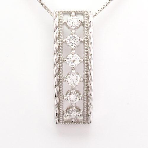 ダイヤモンド ネックレス ペンダント レディース アンティーク ミル ツイスト スクエア プラチナ pt900 0.5カラット