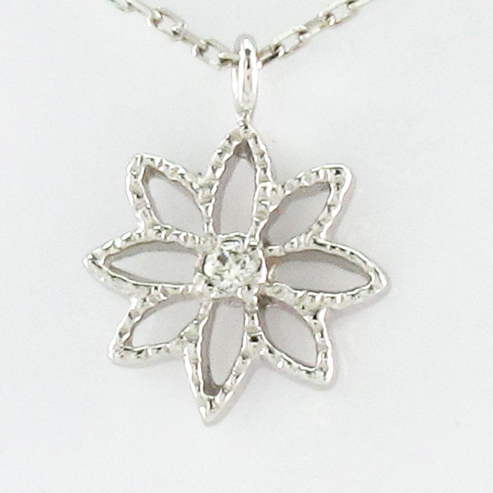 ダイヤモンド ネックレス ペンダント レディース フラワー 花 シンプル プチ プラチナ pt900