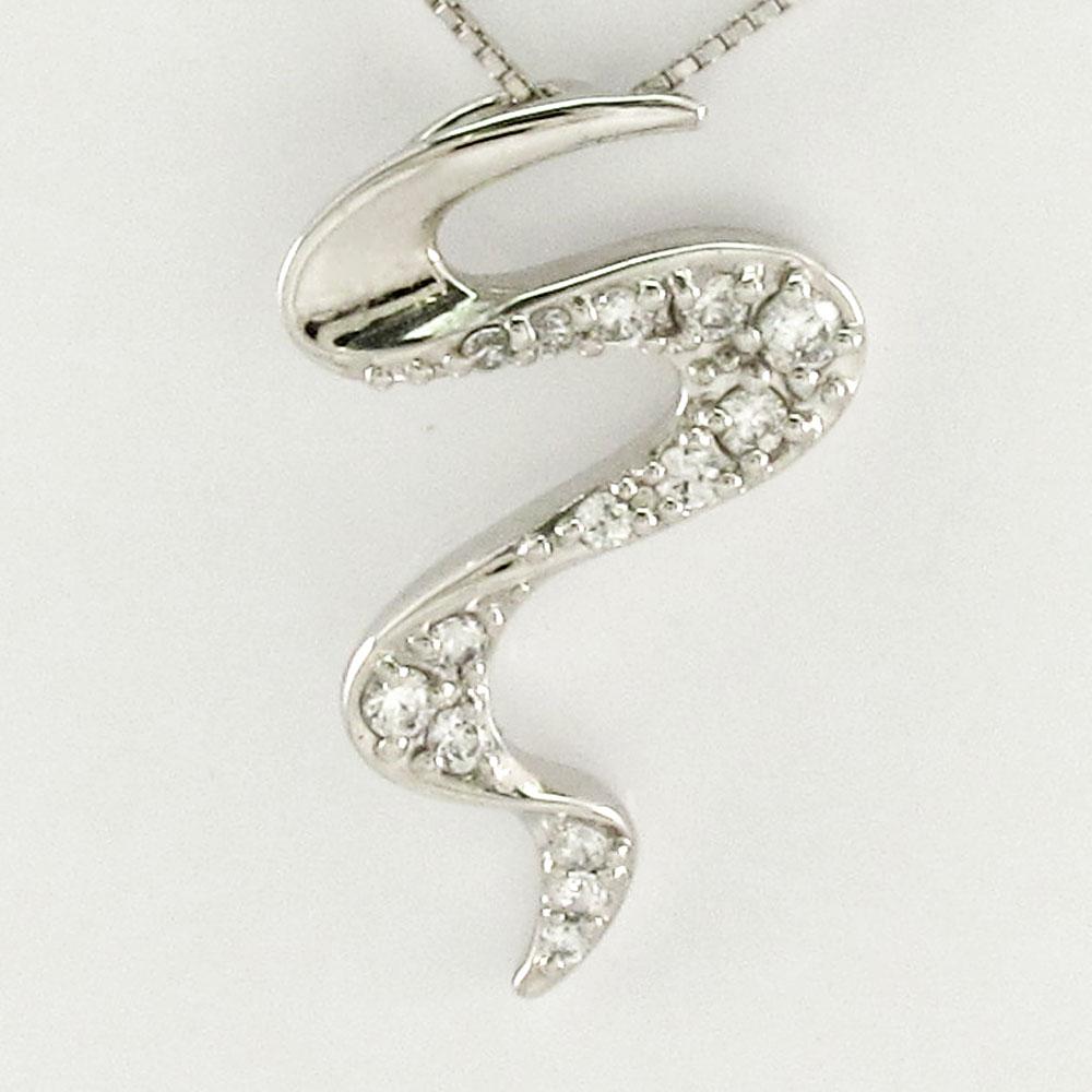 ダイヤモンド ネックレス 18k ペンダント レディース カーブ ウェーブ 曲線 ゴールド k18 18金
