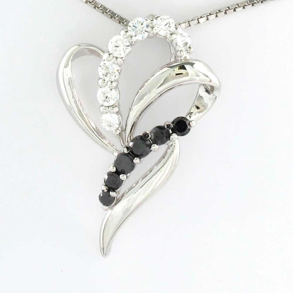 ブラックダイヤモンド ネックレス ペンダント レディース カーブ エレガント プラチナ pt900