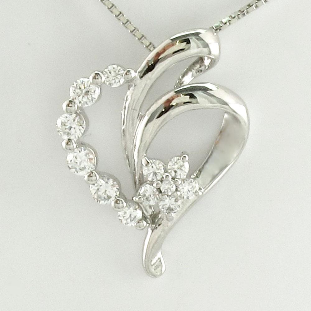 ハート ネックレス ダイヤ ペンダント レディース ダイヤモンド オープンハート フラワー 花 プラチナ pt900
