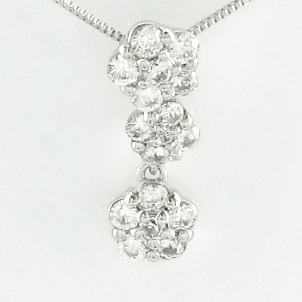 ダイヤモンド ネックレス 18k ペンダント レディース フラワー 花 ブラ 揺れる ゴールド k18 18金