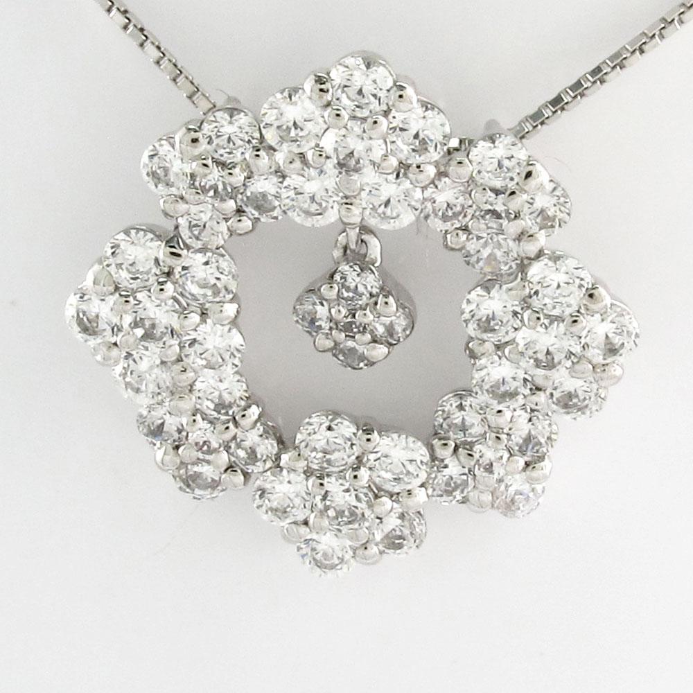 ダイヤモンド ネックレス ペンダント レディース フラワー 花 ブラ 揺れる サークル ゴージャス プラチナ pt900