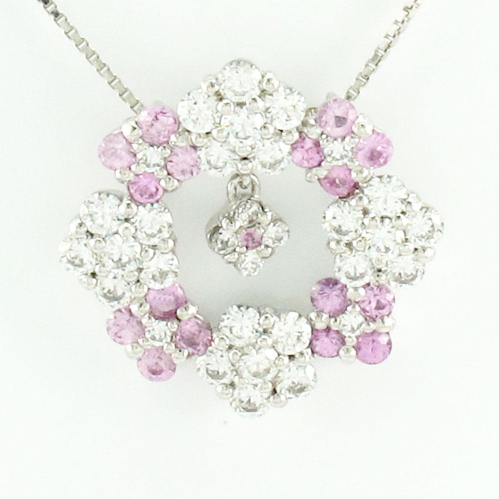ダイヤモンド ネックレス ペンダント レディース フラワー ピンクサファイア 花 ブラ 揺れる サークル ゴージャス プラチナ pt900