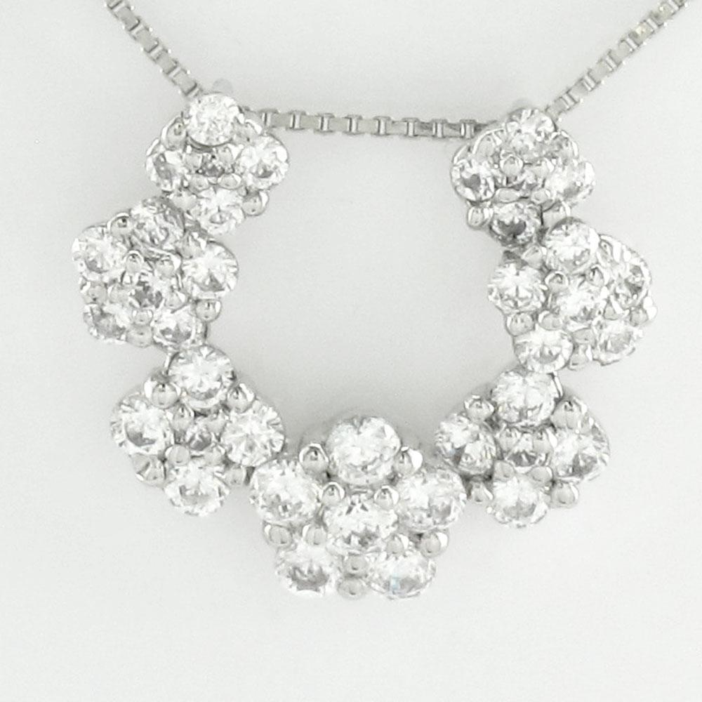 ダイヤモンド ネックレス ペンダント レディース フラワー 馬蹄 ホースシュー ゴージャス プラチナ pt900