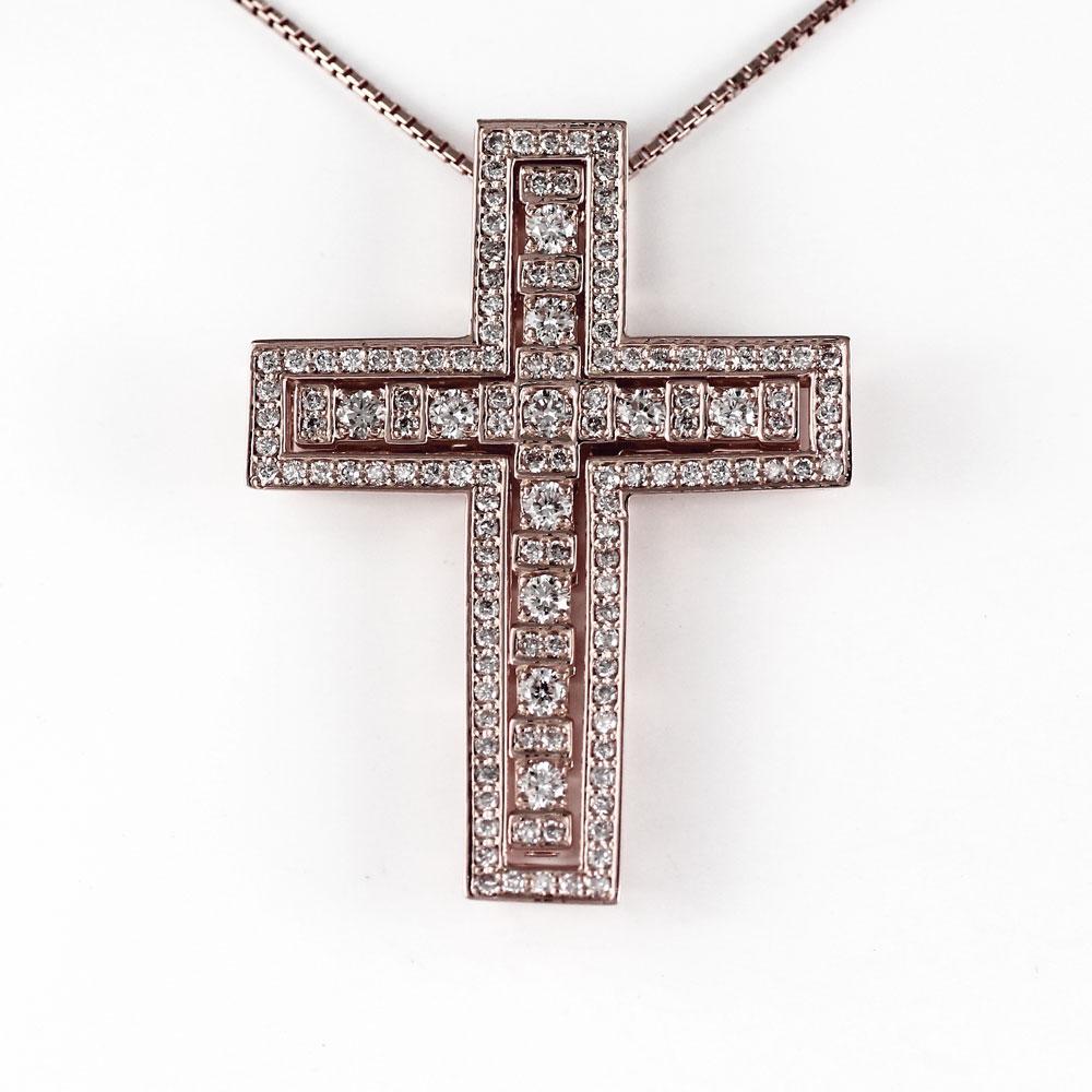 ネックレス メンズ クロス ダイヤモンド 十字架 ゴージャス アンティーク ゴールド k18 18k 18金