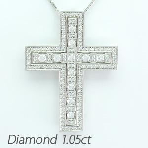 ダイヤモンド ネックレス ペンダント レディース クロス 十字架 ゴージャス アンティーク プラチナ pt900