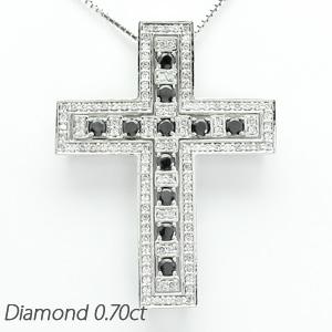 ブラックダイヤモンド ネックレス メンズ クロス 十字架 ゴージャス アンティーク プラチナ