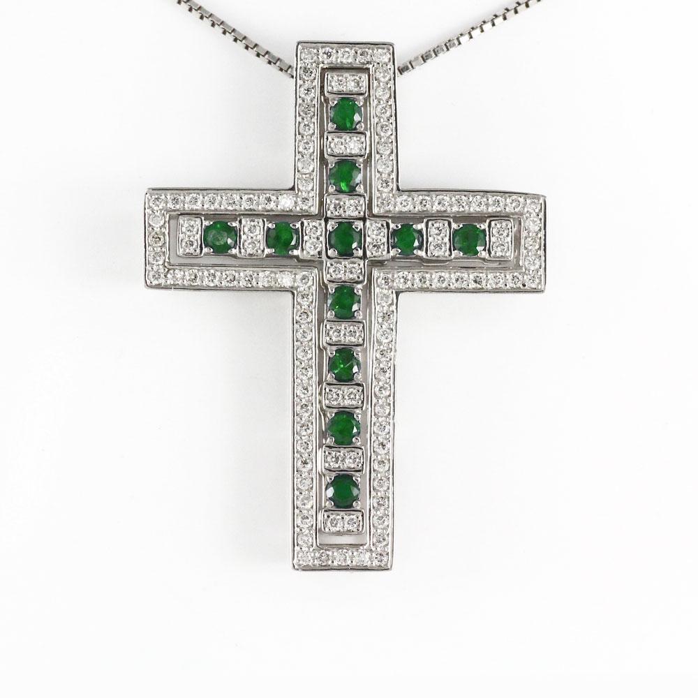 ネックレス メンズ クロス ダイヤモンド エメラルド ゴールド k18 18k 18金