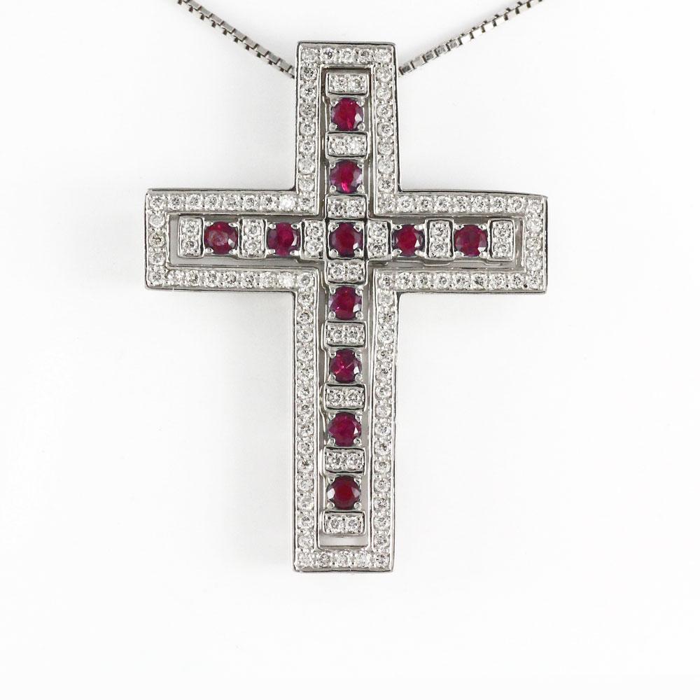 ネックレス メンズ クロス ダイヤモンド ルビー プラチナ