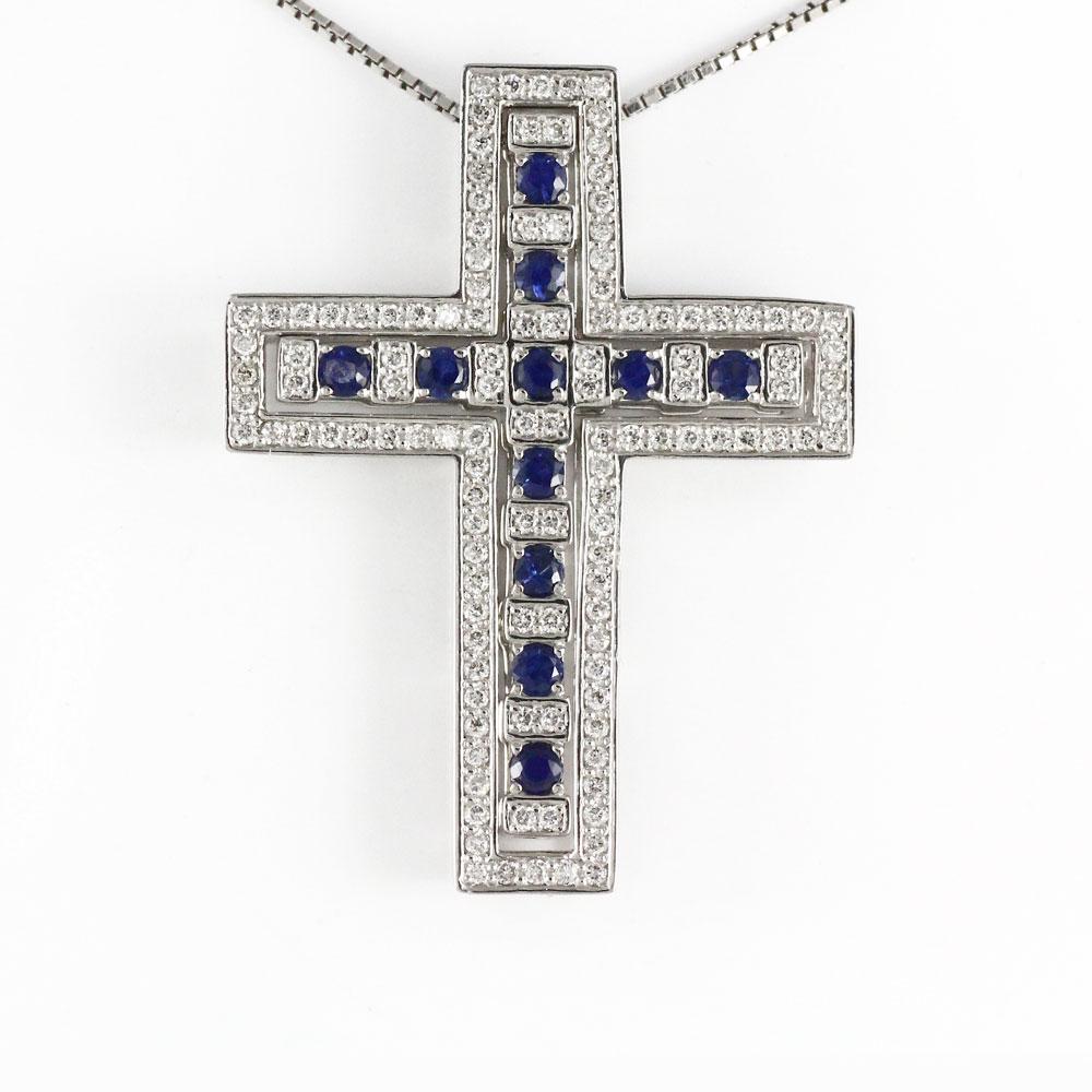 ダイヤモンド ネックレス ペンダント レディース クロス 十字架 ゴージャス アンティーク サファイア プラチナ pt900