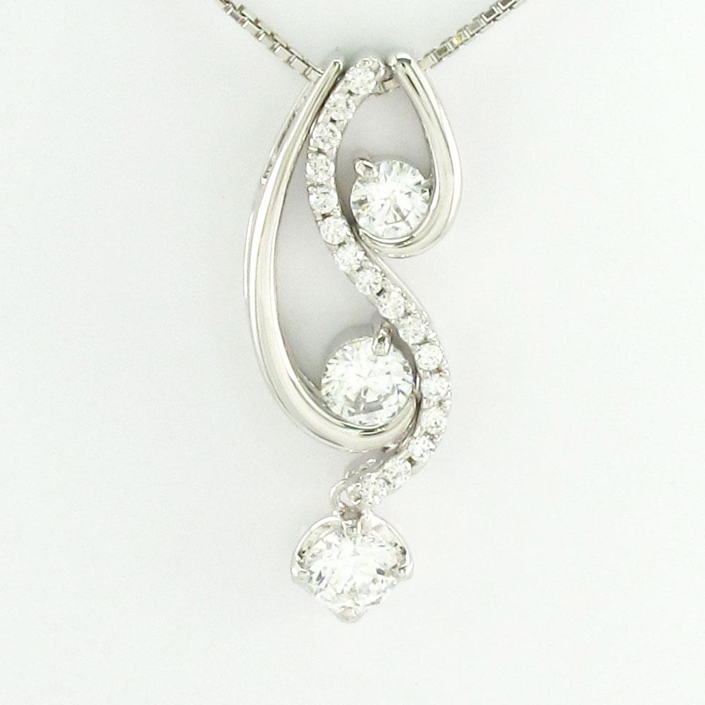 ダイヤモンド ネックレス ペンダント レディース セパレート トリロジー 揺れる ブラ ゴージャス プラチナ pt900