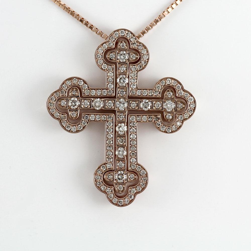 ダイヤモンド ネックレス 18k ペンダント レディース クロス 十字架 ゴージャス アンティーク ゴールド k18 18金