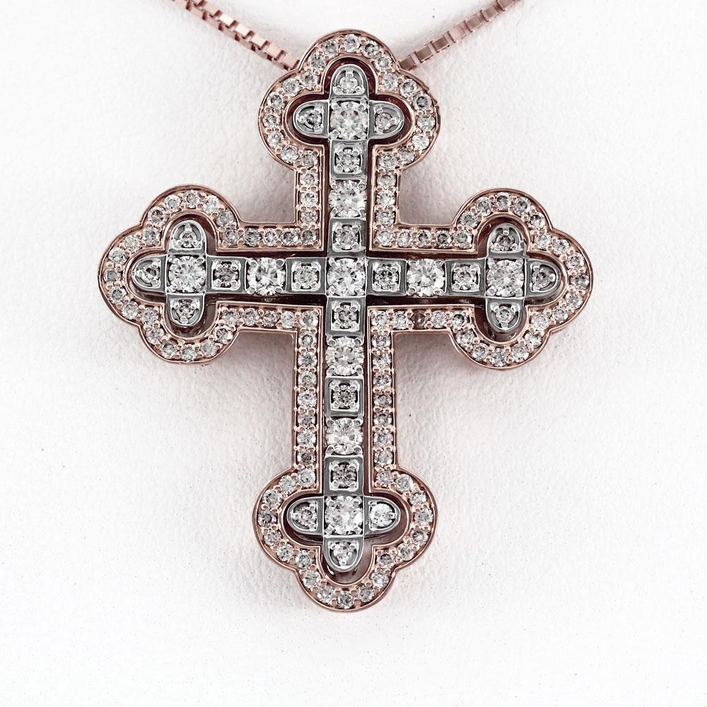 ダイヤモンド ネックレス 18k ペンダント レディース クロス 2カラー コンビ ゴージャス アンティーク 十字架 ゴールド k18 18金 ゴールド k18 18金