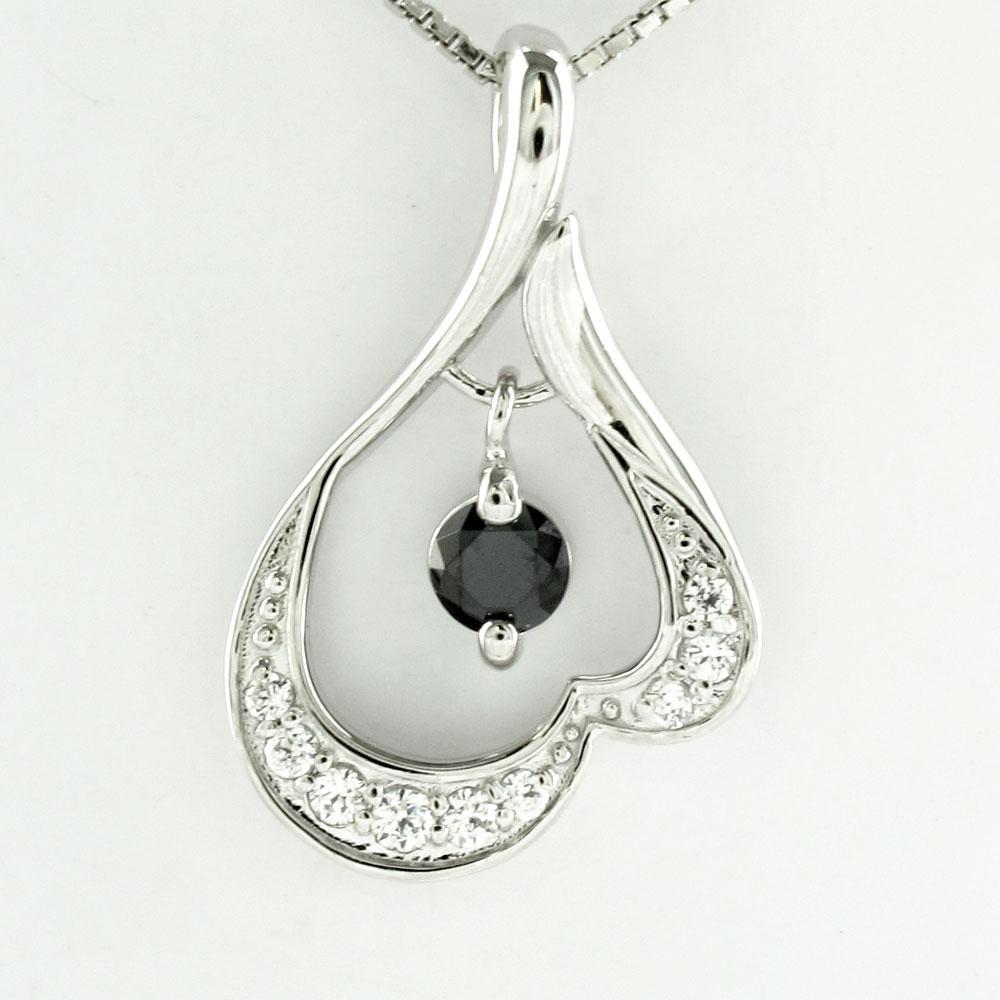 ブラックダイヤモンド ネックレス ペンダント レディース ブラ 揺れる 一粒ダイヤ プラチナ pt900