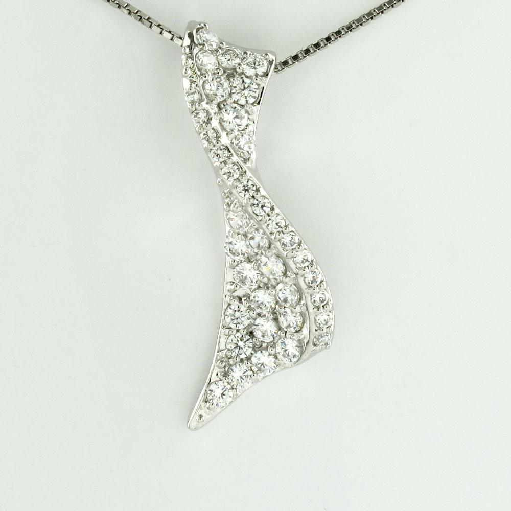 ダイヤモンド ネックレス 18k ペンダント レディース パヴェ リボン カーブ ウェーブ ゴージャス 0.5カラット ゴールド k18 18金