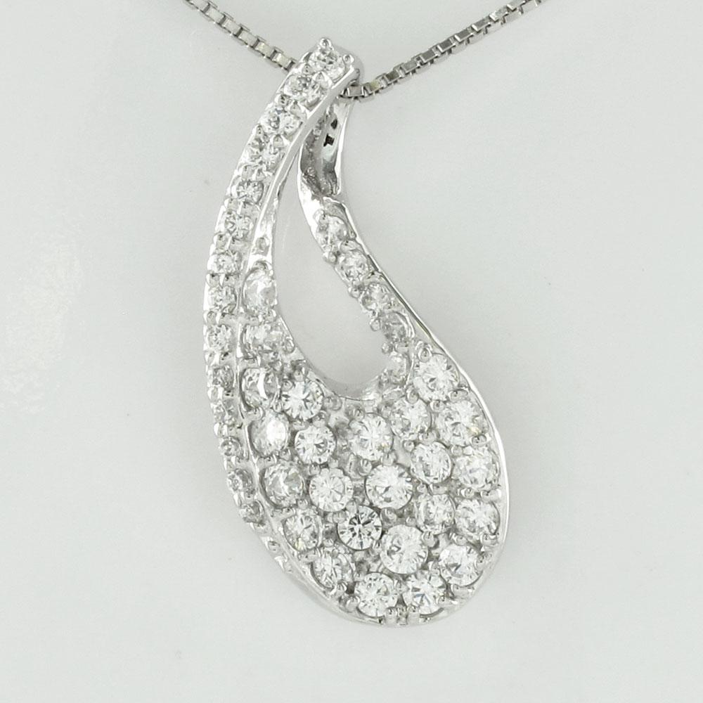 ダイヤモンド ネックレス 18k ペンダント レディース パヴェ 雫 つゆ ドロップ ゴールド k18 18金