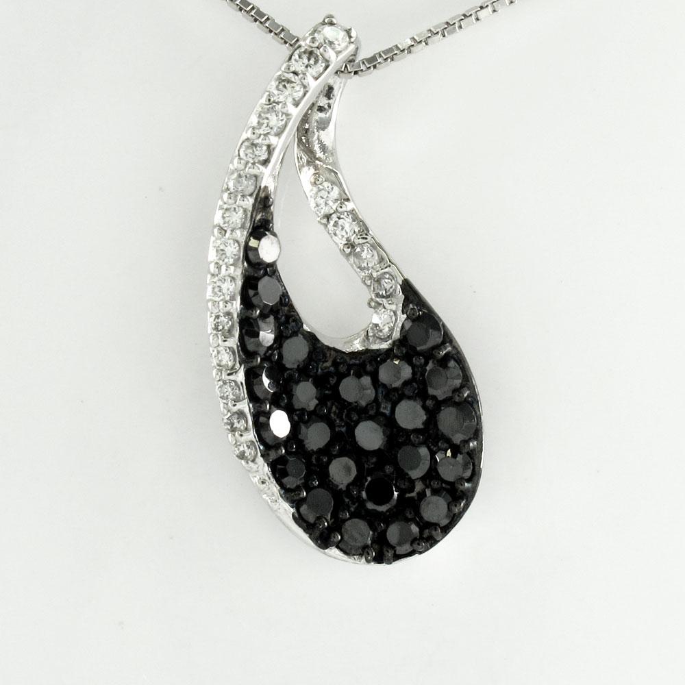 ブラックダイヤモンド ネックレス ペンダント レディース パヴェ プラチナ 雫 つゆ ドロップ pt900
