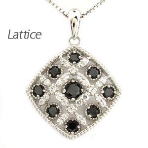 ブラックダイヤモンド ネックレス ペンダント レディース アンティーク 透かし 格子 2段 重ね ラティス スクエア プラチナ pt900