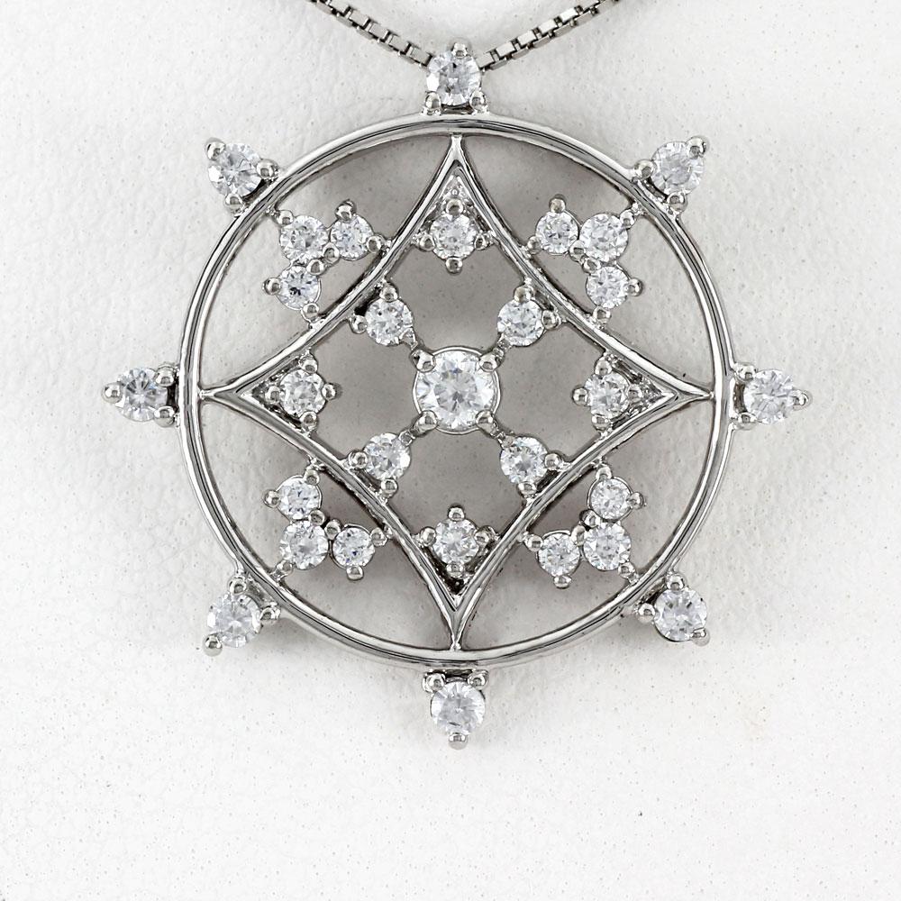 ダイヤモンド ネックレス 10k ペンダント レディース アンティーク サークル 透かし ゴージャス ゴールド k10 10金