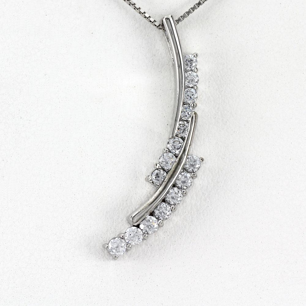 ダイヤモンド ネックレス 18k ペンダント レディース カーブ ウェーブ 0.5カラット ゴールド k18 18金
