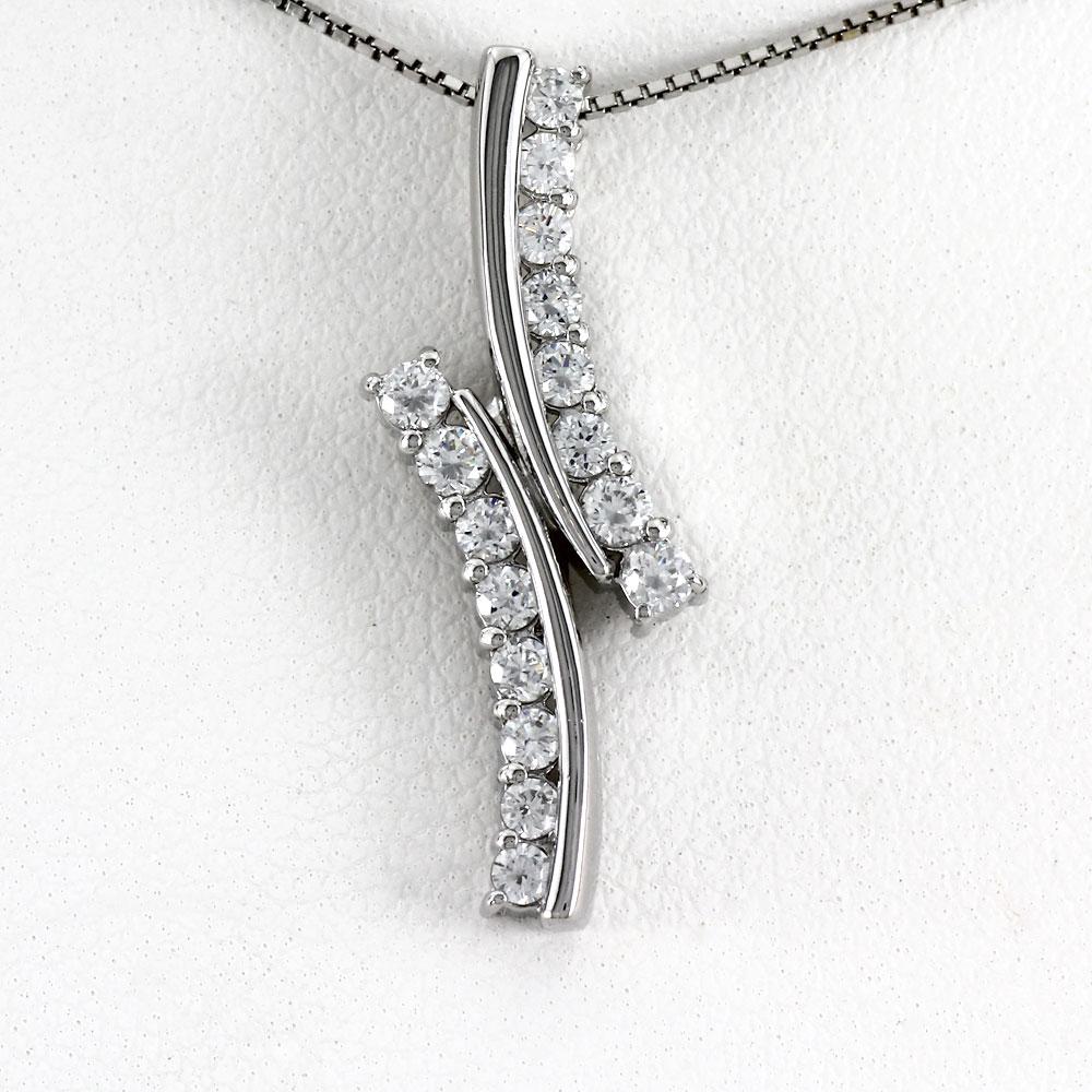 ダイヤモンド ネックレス ペンダント レディース プラチナ カーブ ウェーブ pt900