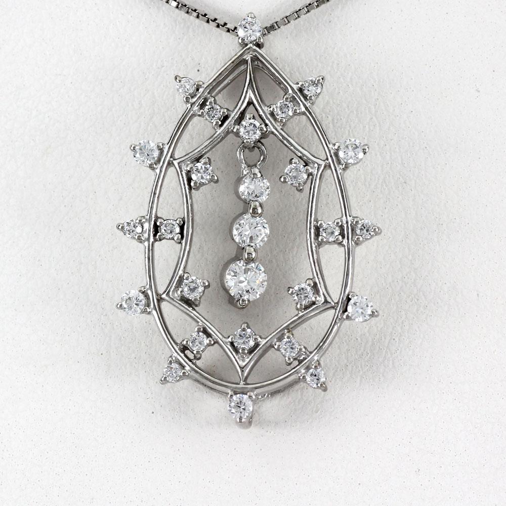 ダイヤモンド ネックレス 10k ペンダント レディース アンティーク ドロップ つゆ 透かし 揺れる ブラ ゴージャス 0.5カラット ゴールド k10 10金