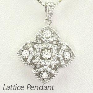 ダイヤモンド ネックレス 18k ペンダント レディース フラワー 花 アンティーク 透かし 格子 重ね スクエア ゴールド k18 18金