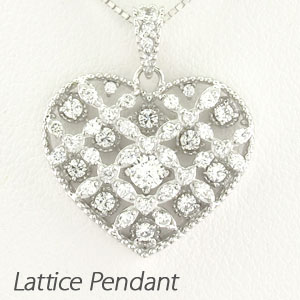 ハート ネックレス ダイヤ ペンダント レディース ダイヤモンド アンティーク 透かし 格子 重ね ゴールド k18 18k 18金