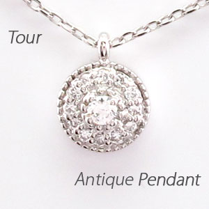 ダイヤモンド ネックレス ペンダント レディース アンティーク ミル プラチナ pt900