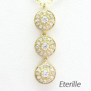 ダイヤモンド ネックレス 18k ペンダント レディース アンティーク ミル 揺れる ゆれる ブラ 3連 ゴールド k18 18金