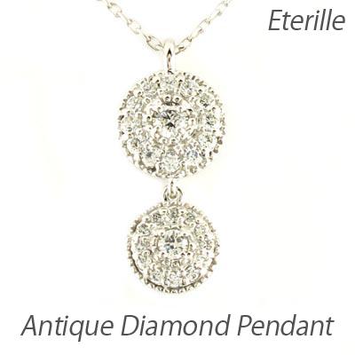 ダイヤモンド ネックレス ペンダント レディース アンティーク ミル プラチナ pt900 ブラ 揺れる ゆれる 2連 0.2カラット