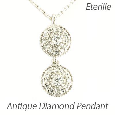 ダイヤモンド ネックレス ペンダント レディース アンティーク ミル プラチナ pt900 ブラ 揺れる ゆれる