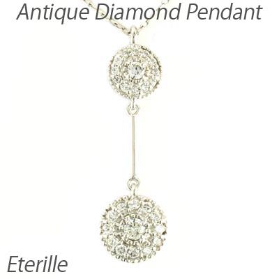 ダイヤモンド ネックレス 18k ペンダント レディース アンティーク ミル ブラ 揺れる ゆれる 0.2カラット ゴールド k18 18金
