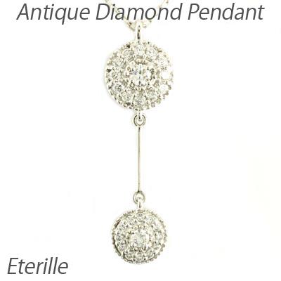 ダイヤモンド ネックレス ペンダント レディース アンティーク ミル プラチナ pt900 ブラ 揺れる ゆれる 0.2カラット