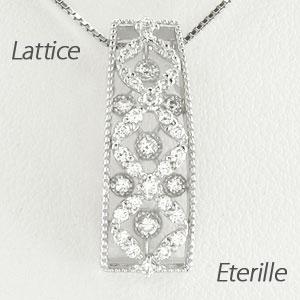 ダイヤモンド ネックレス ペンダント レディース アンティーク 透かし 格子 重ね スクエア プラチナ pt900
