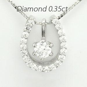 ダイヤモンド ネックレス 一粒 10k ペンダント レディース 馬蹄 ホースシュー 1粒 プチ ゴールド k10 10金